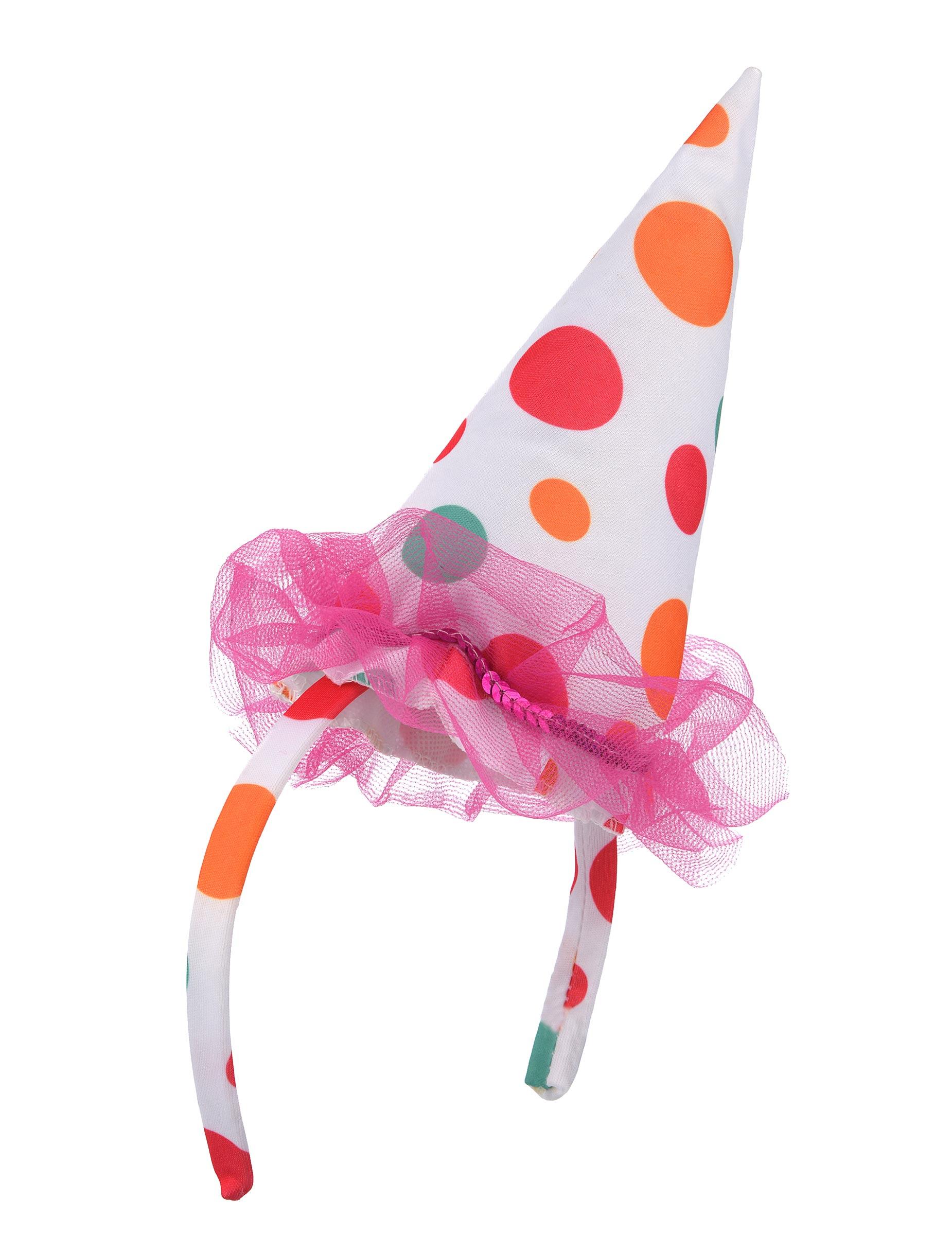 Clown Hut Miniaturhut Haarreif Weiss Pastellbunt Gunstige