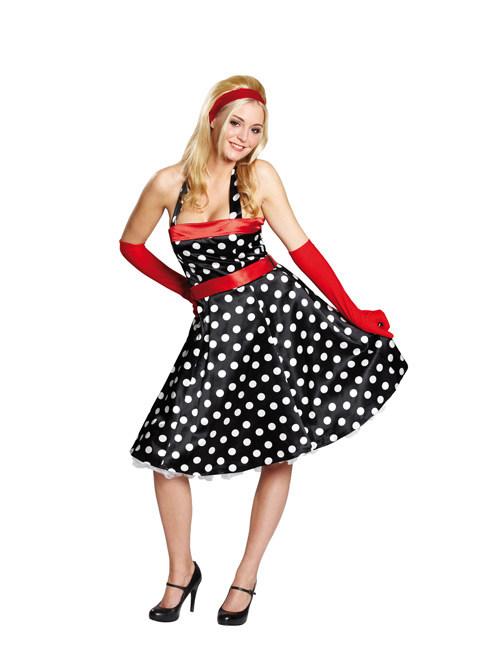 622a9a55f91390 50er Petticoat Dots Punkte Damenkostüm schwarz-weiss-rot , günstige  Faschings Kostüme bei Karneval Megastore