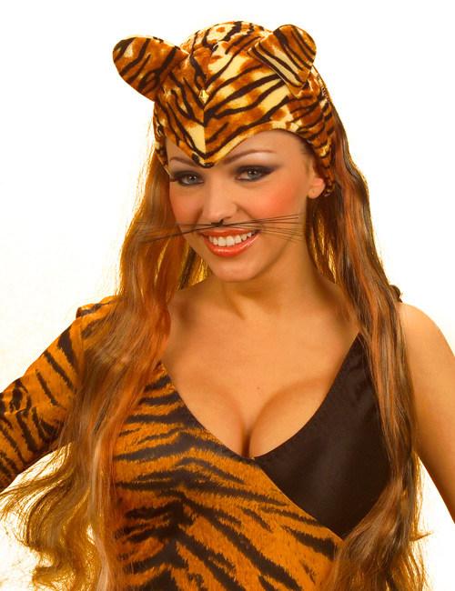 Tiger Mütze Mit Ohren Und Haaren Schwarz Braun Günstige Faschings
