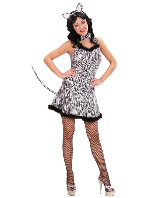 Zebra Samt-Mini-Kleid Damenkostüm schwarz-weiss , günstige ...