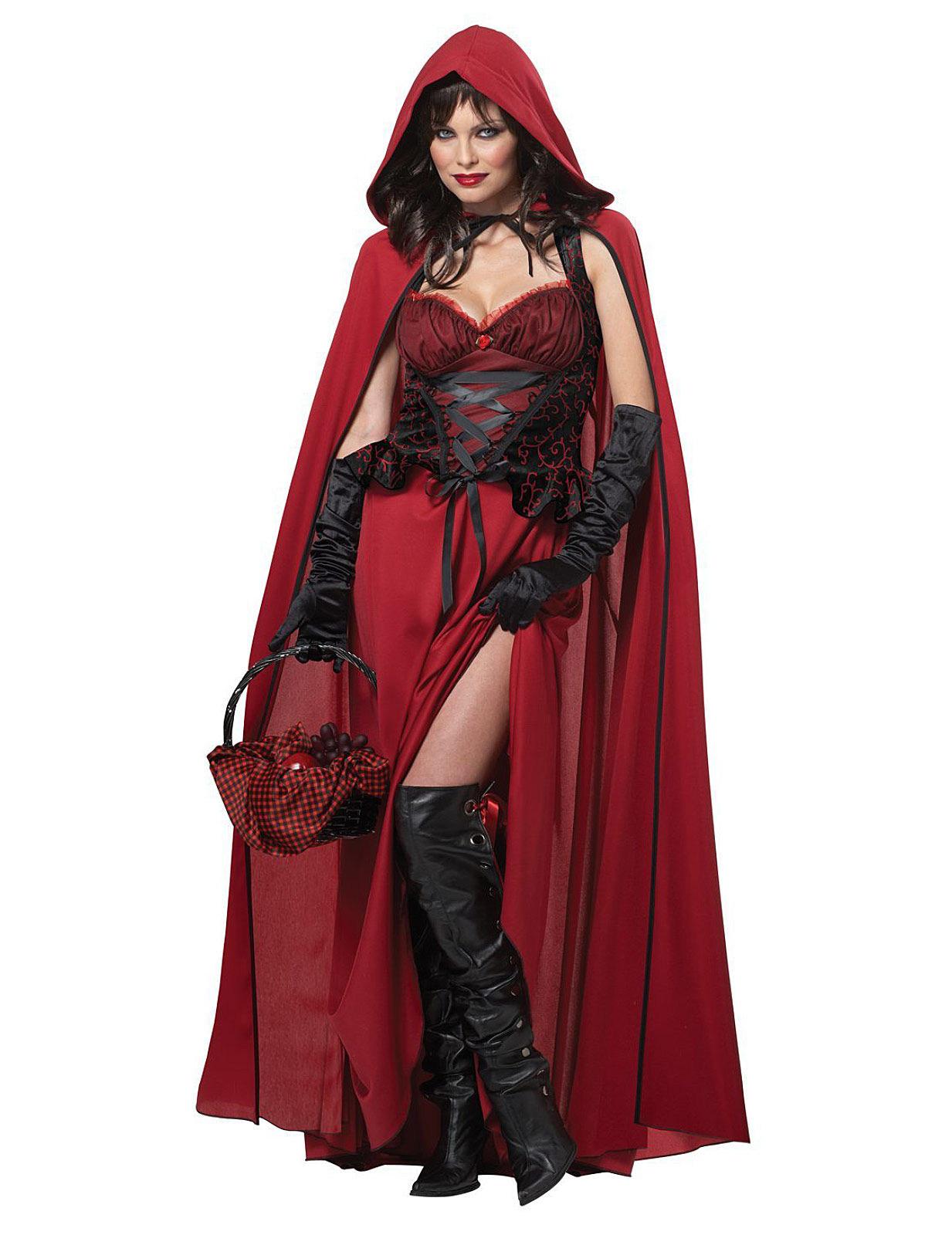 Boses Rotkappchen Marchen Halloween Damenkostum Schwarz Rot