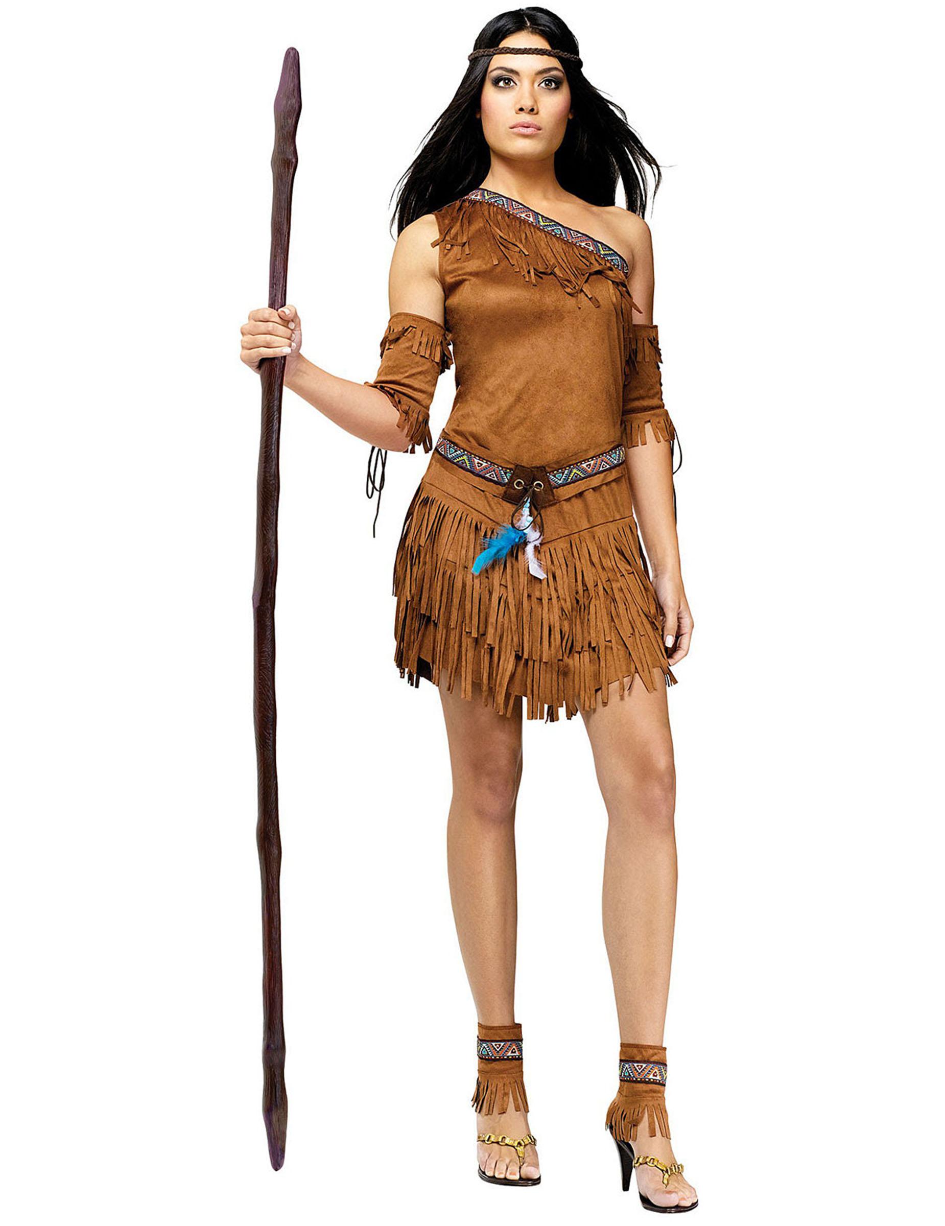 Indianerin Damenkostum Wilder Westen Braun Gunstige Faschings