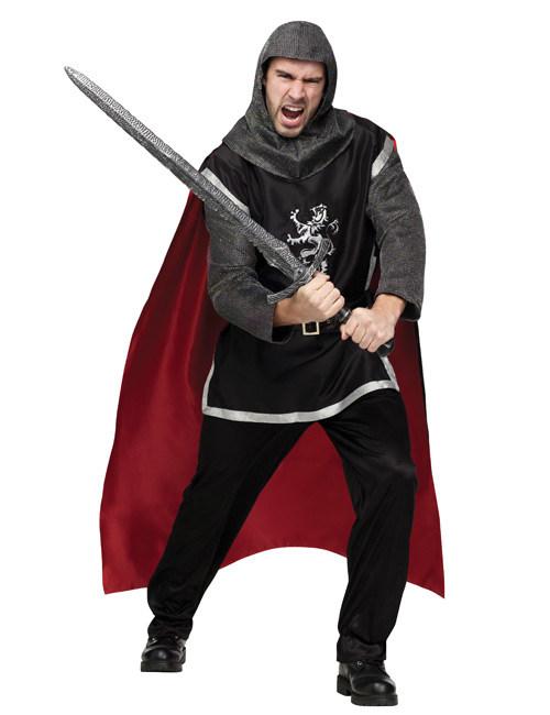 Ritter Mittelalter Kostüm Grau Rot