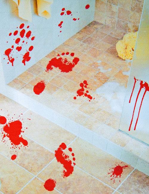 blutige f sse aufkleber halloween deko rot 25x70cm. Black Bedroom Furniture Sets. Home Design Ideas