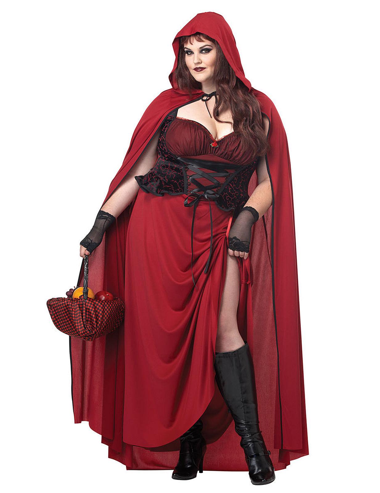 Gothic Rotkappchen Halloween Damenkostum Xxl Rot Schwarz Gunstige