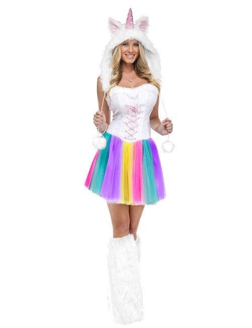 Einhorn Fantasy Damenkostum Weiss Bunt Gunstige Faschings Kostume