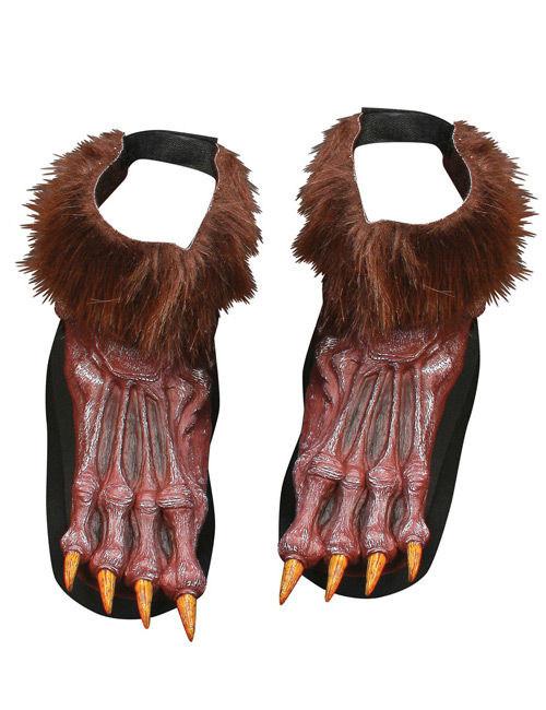 werwolf halloween schuh berzieher braun g nstige faschings accessoires zubeh r bei karneval. Black Bedroom Furniture Sets. Home Design Ideas