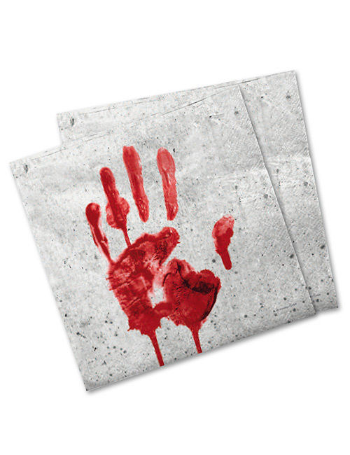 blutige hand servietten halloween deko 20 st ck weiss rot. Black Bedroom Furniture Sets. Home Design Ideas