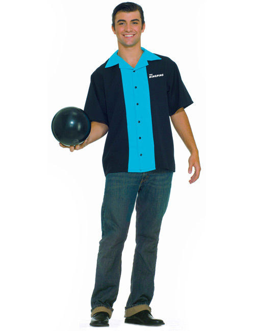 50er jahre rockabilly herren bowling hemd blau schwarz. Black Bedroom Furniture Sets. Home Design Ideas