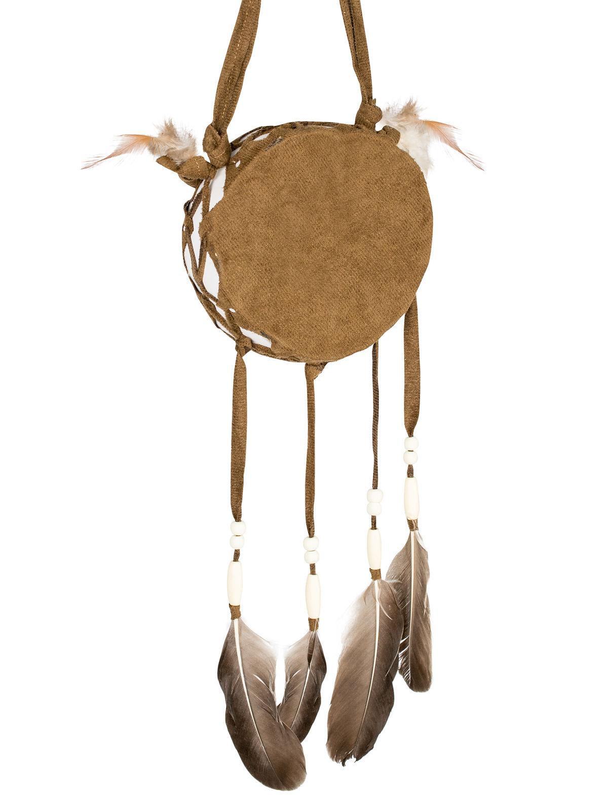 indianer trommel mit federn braun g nstige faschings accessoires zubeh r bei karneval megastore. Black Bedroom Furniture Sets. Home Design Ideas