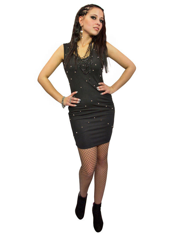 Gothic Mini-Kleid für Damen mit Nieten schwarz , günstige ...