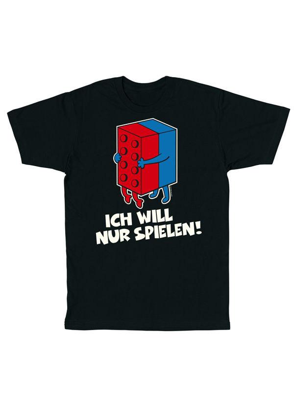 Funshirt Ich will nur spielen T-Shirt schwarz-bunt