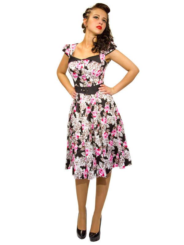 Hearts and Roses Rockabilly 50er Petticoat-Kleid Blumen ...