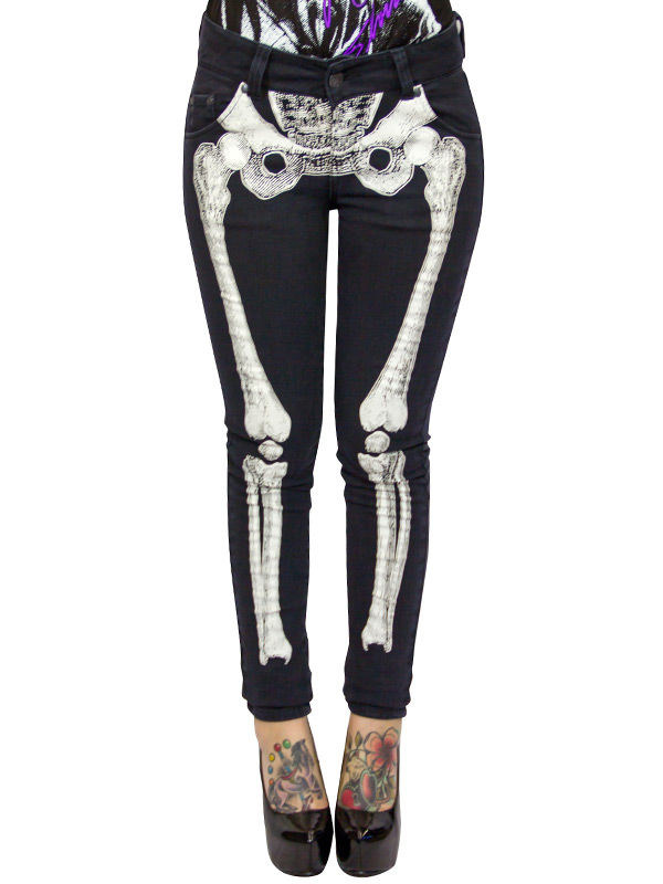 926af2018f3158 Kreepsville Gothic Jeans Hose Skelett schwarz-weiss , günstige ...