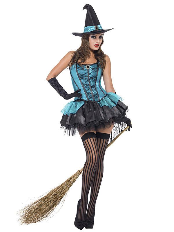 Sexy Hexe Halloween Damenkostm Trkis-Schwarz , Gnstige -8549