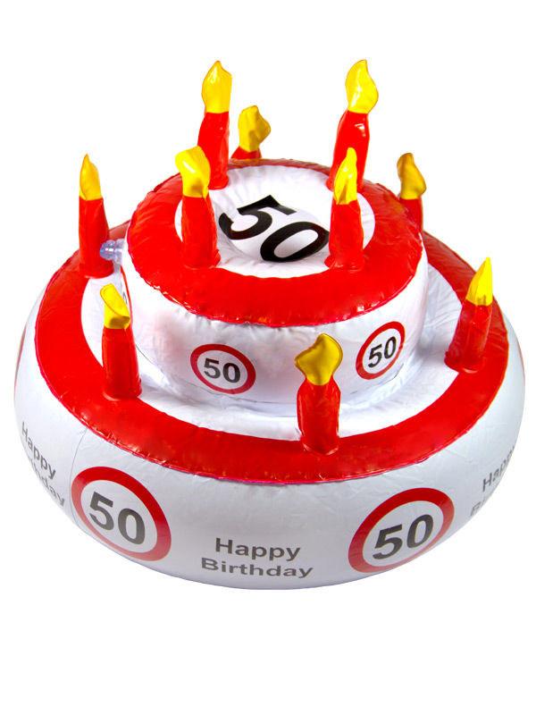 50 Geburtstag Geburtstagstorte Aufblasbar Weiss Rot Schwarz 29x26cm