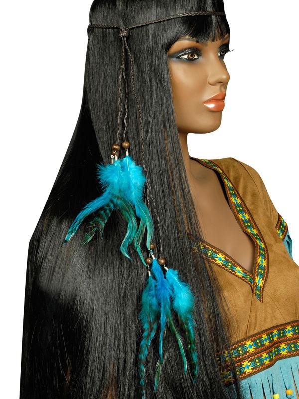 indianer halsband stirnband kopfschmuck federn blau. Black Bedroom Furniture Sets. Home Design Ideas