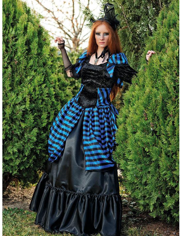 Edles Gothic-Kleid Deluxe Damenkostüm schwarz-blau ...
