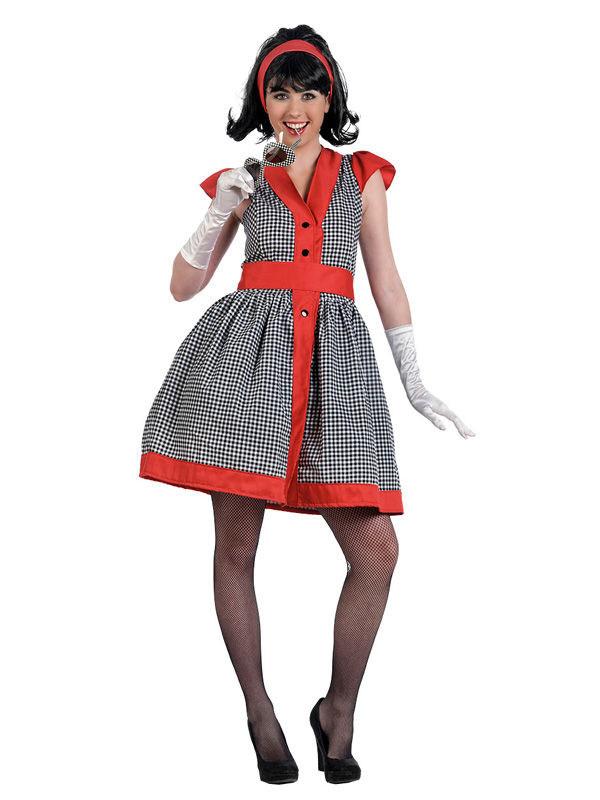 size 40 3cff9 5a21d 50er Jahre Kleid Damenkostüm schwarz-weiss-rot
