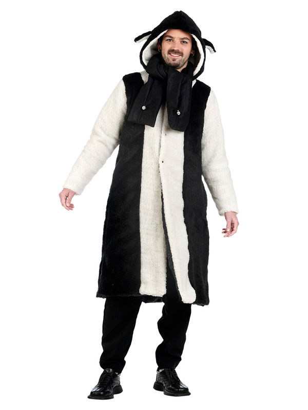 Schaf Mantel mit Schal schwarz weiss