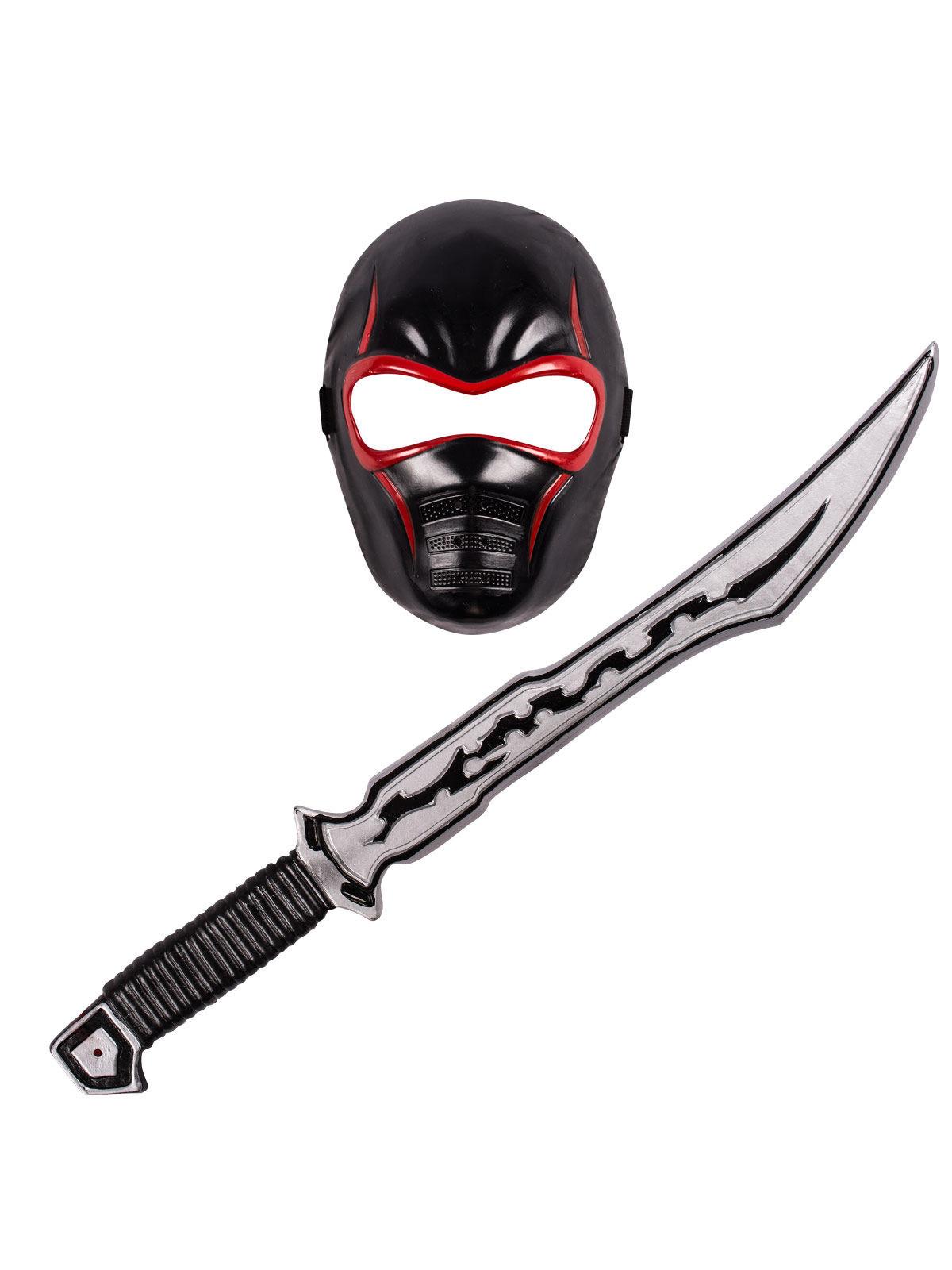 Ninja Set Maske Und Schwert Fur Kinder Schwarz Rot Gunstige