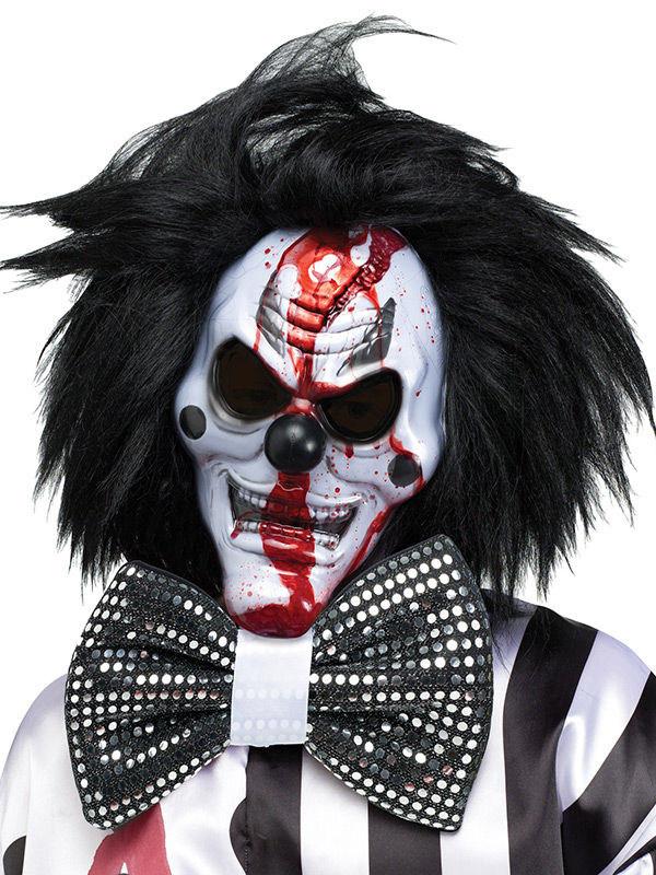 Horror Clown Halloween Maske Mit Haaren Schwarz Weiss Gunstige