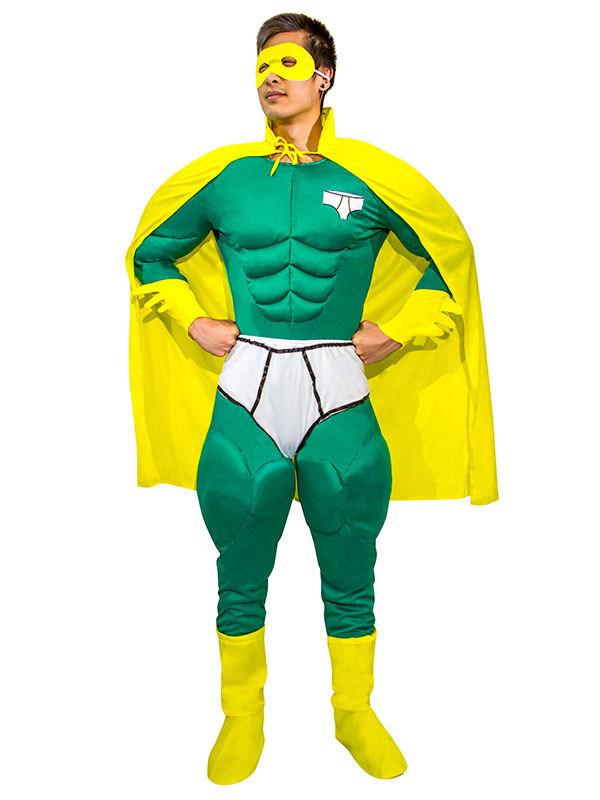 Lustiger Superheld Jumpsuit Kostum Grun Gelb Gunstige Faschings
