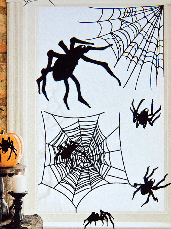 spinnen aufkleber halloween party deko set 24 teilig schwarz 24 7x69 8cm g nstige faschings. Black Bedroom Furniture Sets. Home Design Ideas
