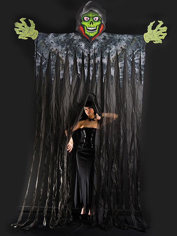 Riesige t rdeko halloweenparty eingangstor skelett sensenmann gr n schwarz 350cm g nstige - Halloween turdeko ...