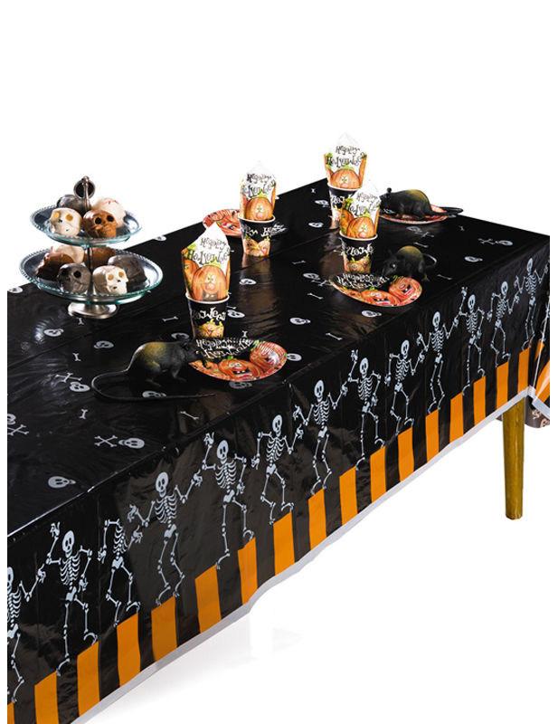 halloween tischdecke skelette und knochen schwarz weiss orange 274x137cm g nstige faschings. Black Bedroom Furniture Sets. Home Design Ideas