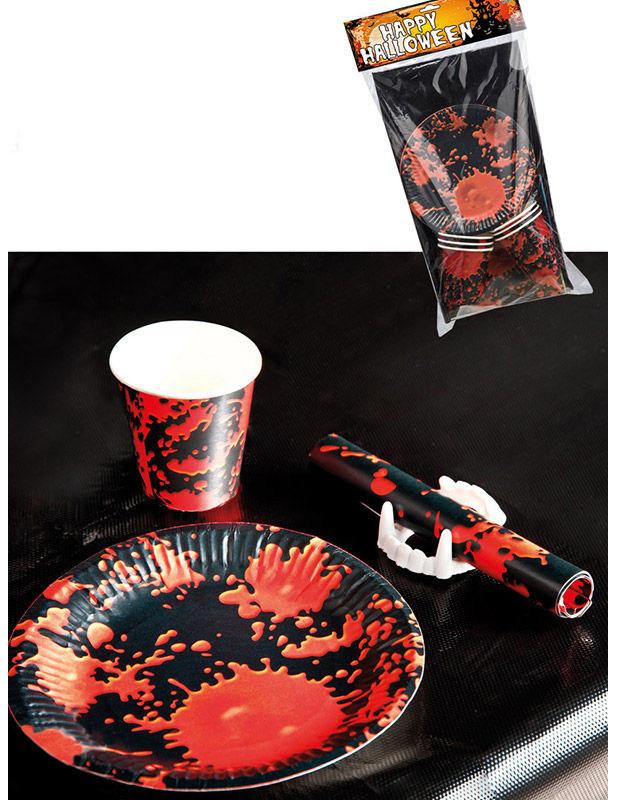 blutspritzer horror halloween tischdeko set f r 6 personen. Black Bedroom Furniture Sets. Home Design Ideas