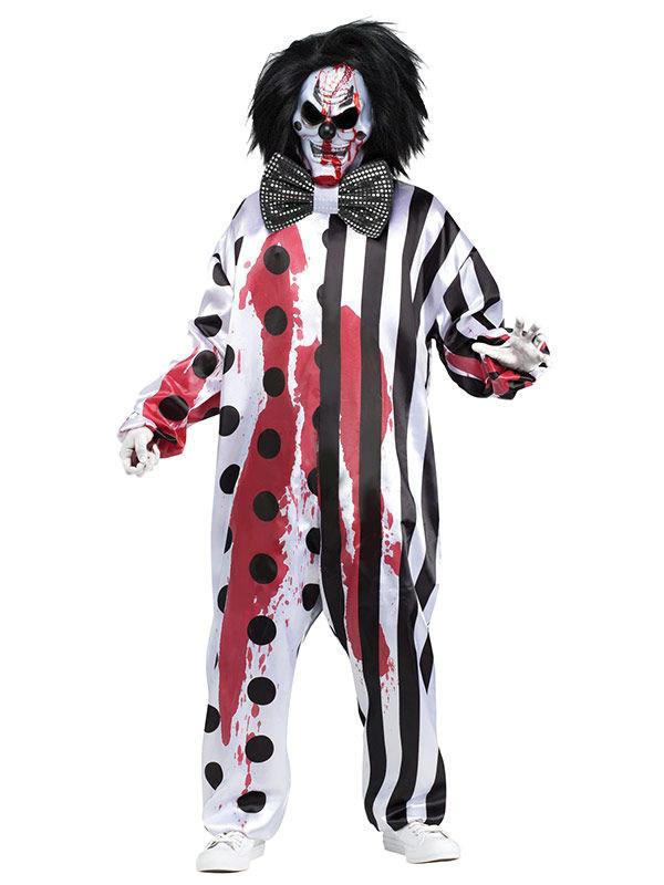 Blutender Horror Clown Halloween Kostum Schwarz Weiss Gunstige