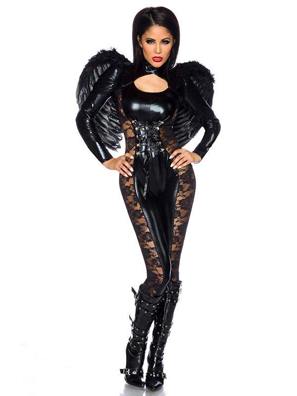Halloween Schminktipps Schwarzer Engel.Schwarzer Engel Halloween Damenkostum Schwarz Gunstige Faschings Deguisements Adultes Bei Karneval Megastore