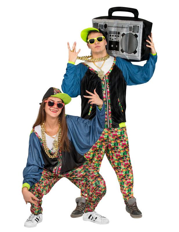 80er Jahre Hip Hop Kostu00fcm Bunt  Gu00fcnstige Faschings Kostu00fcme Bei Karneval Megastore