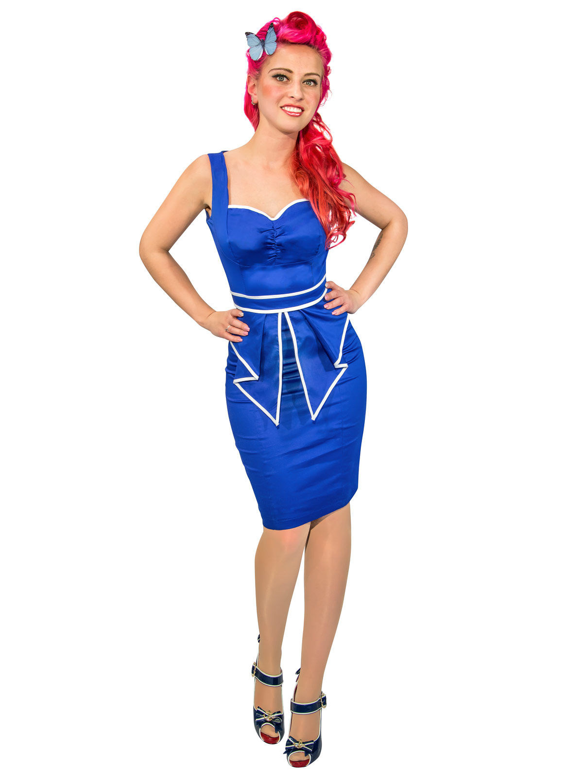 Hearts And Roses Rockabilly 50er Bleistift Kleid Marine Look Blau