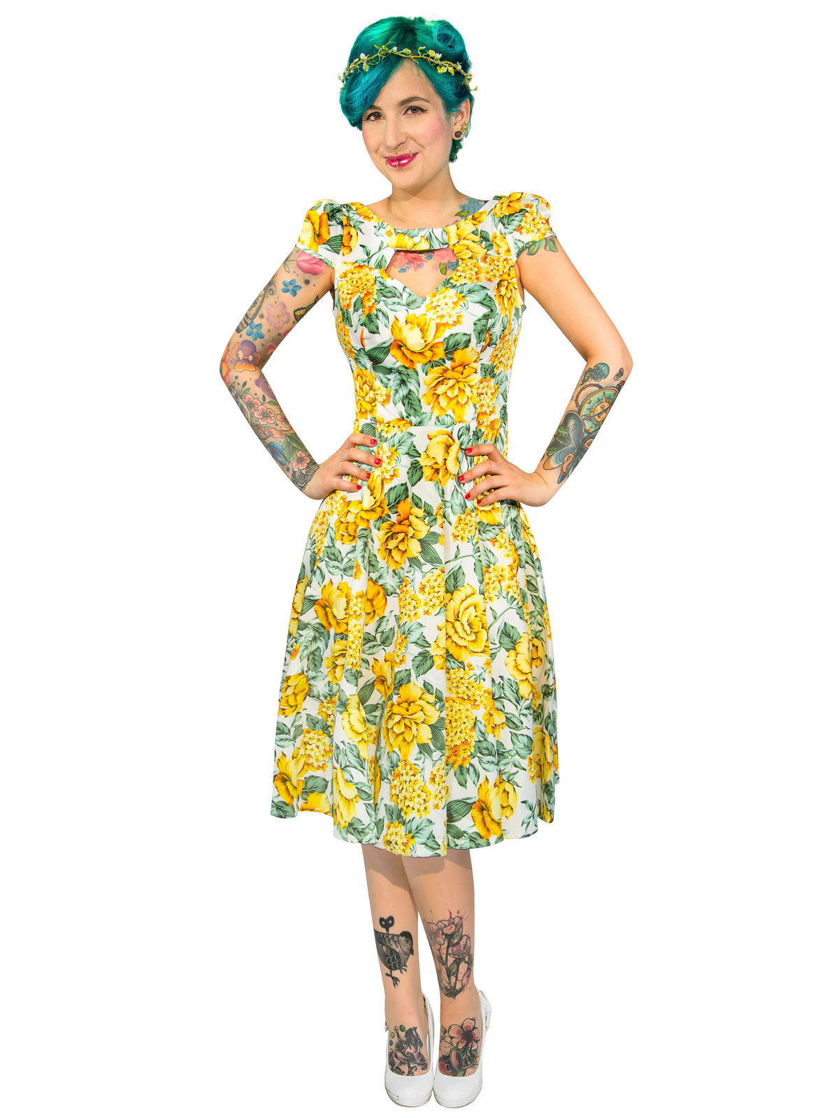 Hearts And Roses Rockabilly 50er Kleid Blumen Weiss Gelb Gunstige