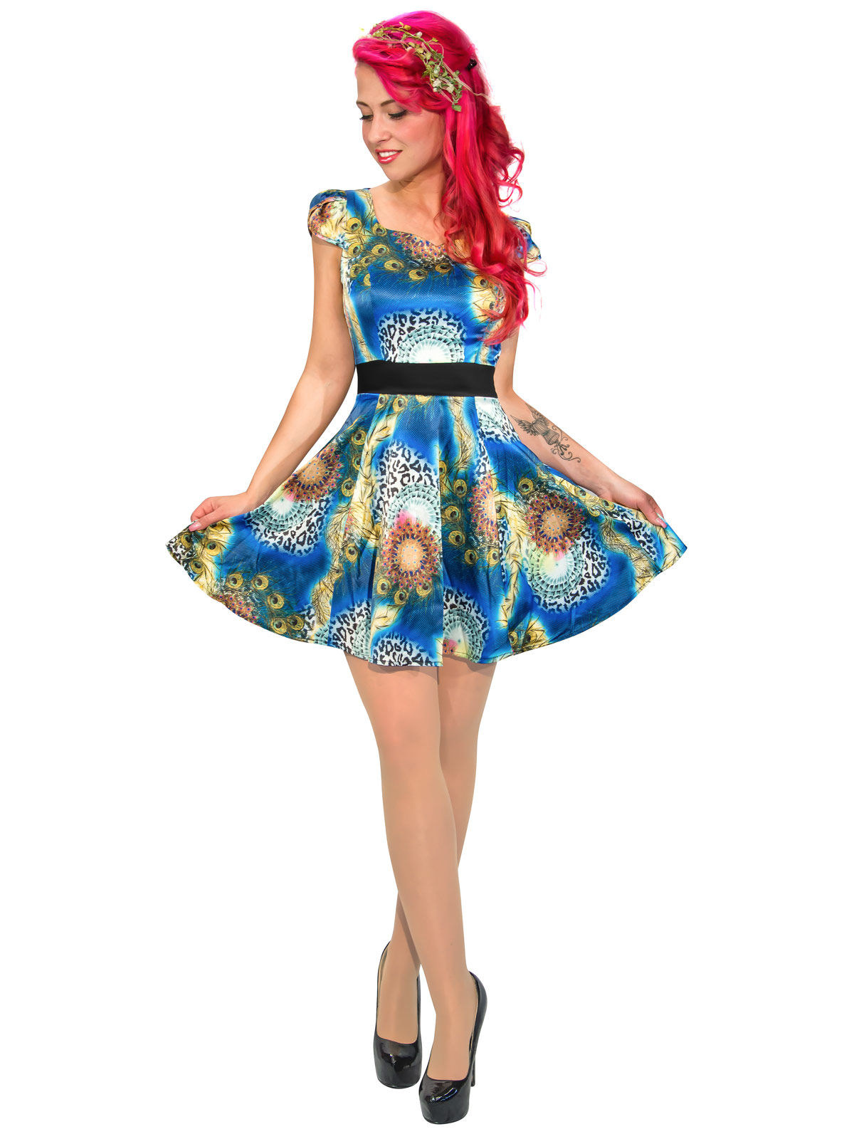 8db382bc3da Hearts and Roses Rockabilly 50er Petticoat-Kleid Animal Print bunt ...