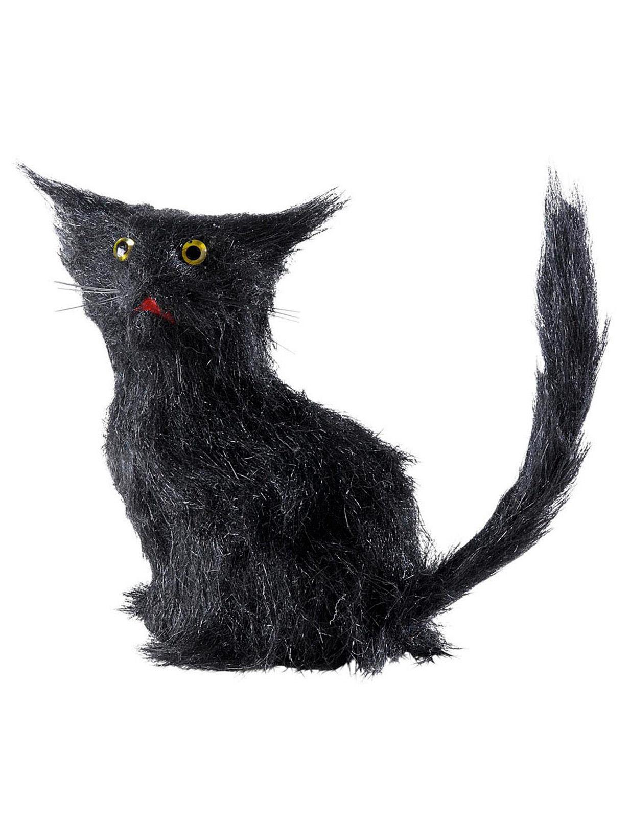 katze mit fell halloween deko figur schwarz 12cm g nstige faschings partydeko zubeh r bei. Black Bedroom Furniture Sets. Home Design Ideas