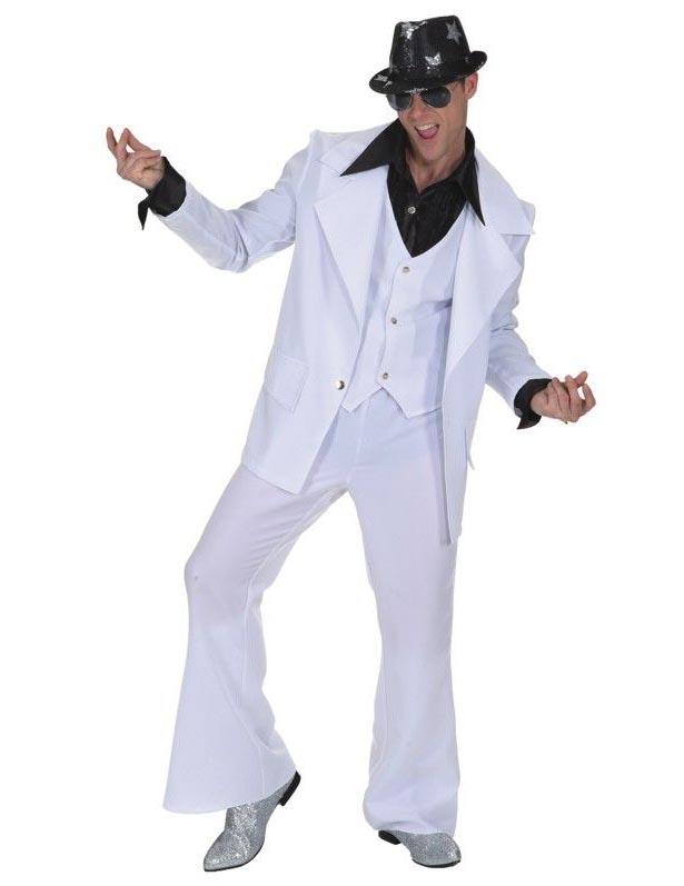Rock n Roll Disco Anzug Kostüm weiss schwarz