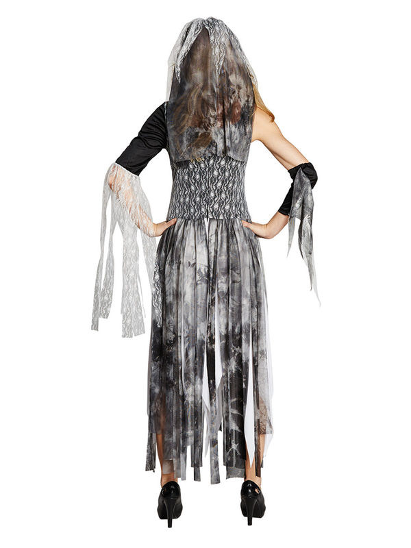 schaurige zombie braut halloween damenkost m grau schwarz weiss g nstige faschings kost me bei. Black Bedroom Furniture Sets. Home Design Ideas