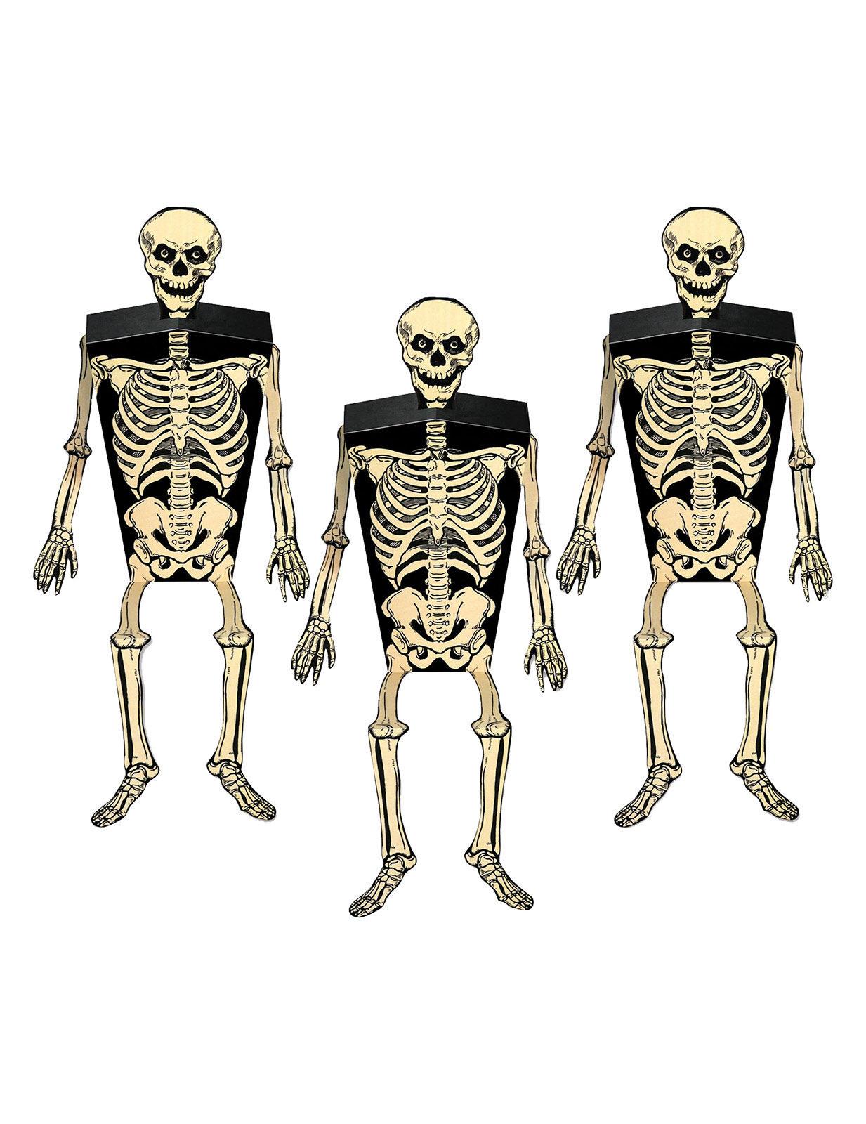 Wanddeko 3 D Skelett Halloween Grusel Deko Party Fasching Halloweendeko