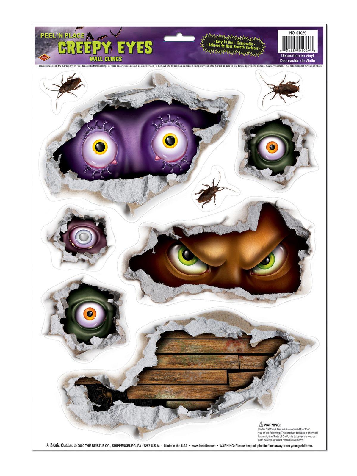 Böse Augen Halloween Sticker-Set 9 Stück bunt 44x31cm