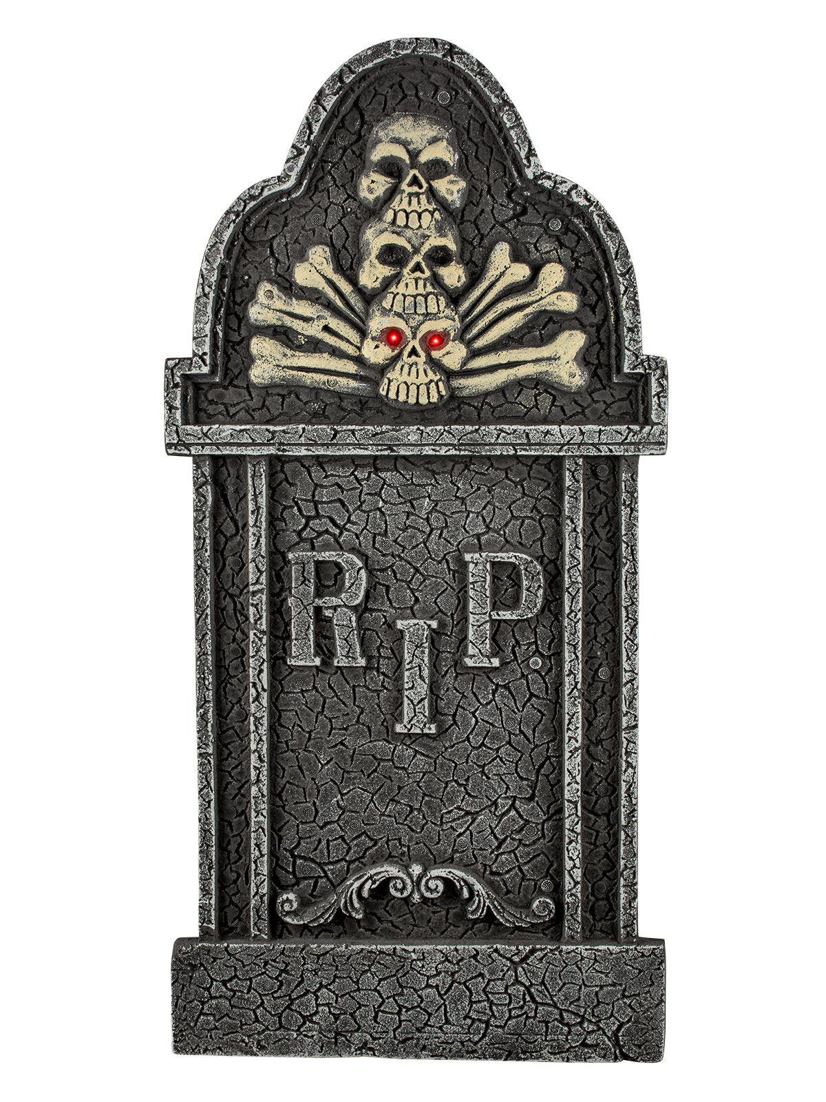 grabstein skelett mit leuchtaugen halloween deko 90cm grau. Black Bedroom Furniture Sets. Home Design Ideas