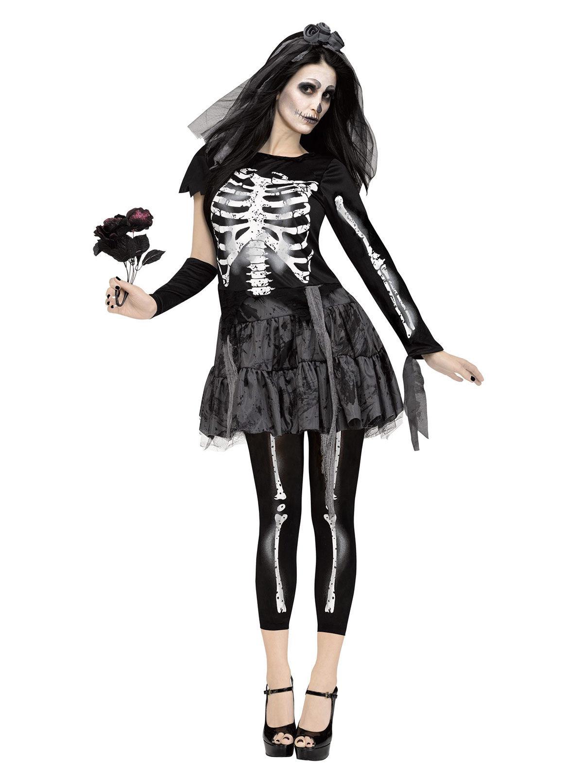 Skelett Braut Halloween Damenkostüm schwarz weiss , günstige