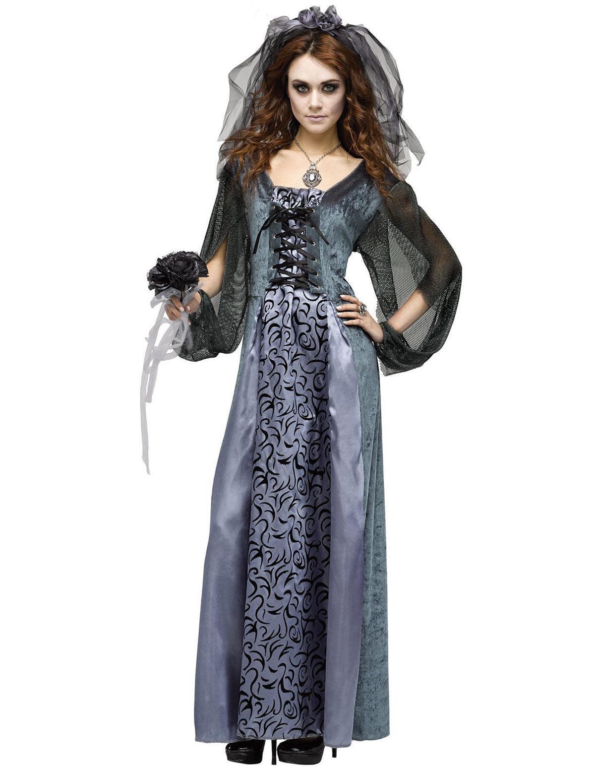 Zombie Braut Halloween Damenkostum Grau Schwarz Gunstige Faschings