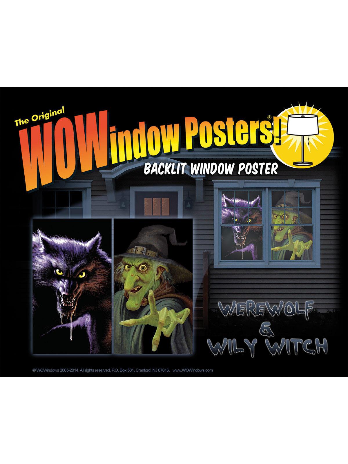Hexe Werwolf Halloween Fensterdeko Set 2 Teilig Bunt 91x152cm
