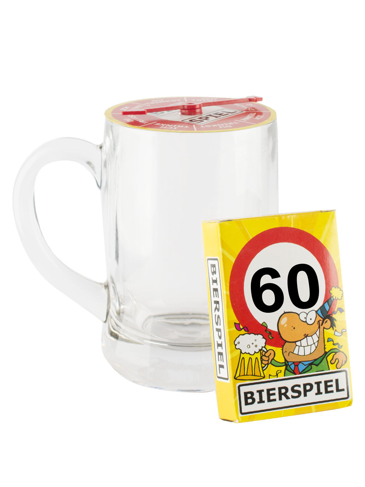 60 geburtstag bier spiel mit bierglas transparent bunt 500ml g nstige faschings partydeko. Black Bedroom Furniture Sets. Home Design Ideas