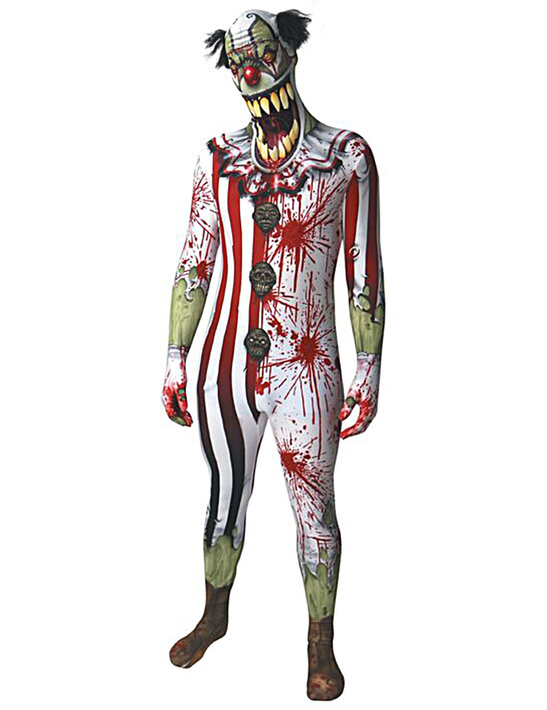 Herren Karneval Fasching Halloween Gr Horror Clown Kostüm mit Maske 50 52 54