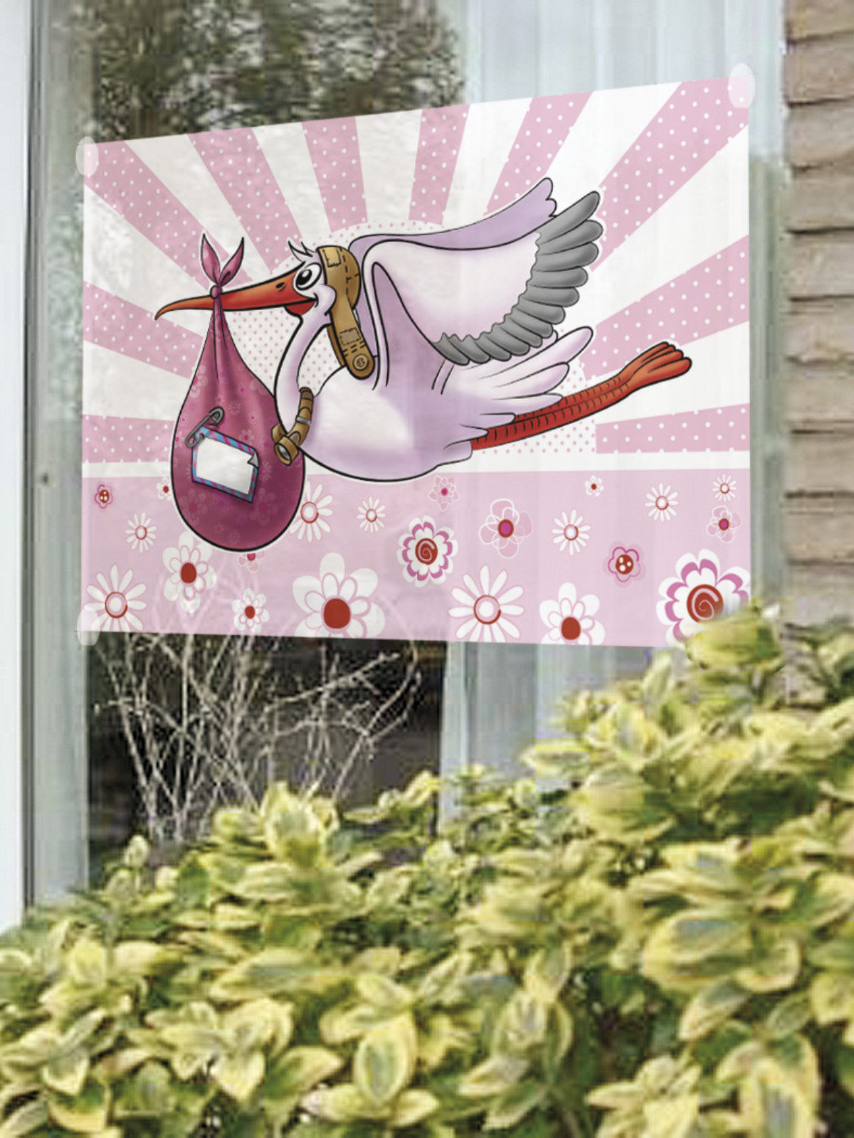 Fenster Fahne Klapperstorch Geburtstag Party Deko Rosa Weiss 90x60cm