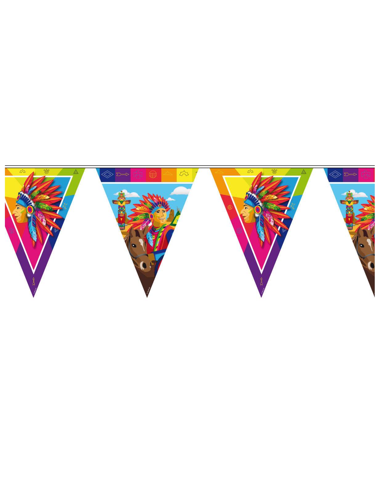 Indianer Wimpel Girlande Wilder Westen Party Deko Bunt 10mx29cm